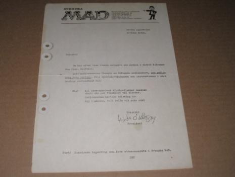 """Alfred E. Neuman Fan Club """"Welcome"""" Letter • Sweden"""