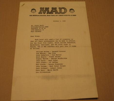 MAD Trip To Germany Room Assignment Sheets w/ Color Picture • USA