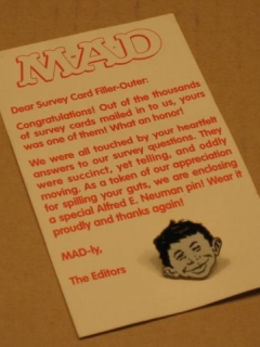 Go to Survey Replay Card with Pin MAD Magazine Readership