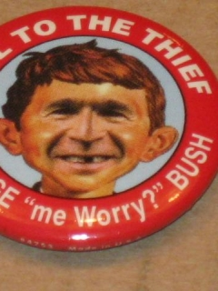 "Go to Pinback Button George W. Bush ""Hail To The Thief"" • USA"
