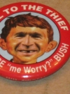 "Image of Pinback Button George W. Bush ""Hail To The Thief"""