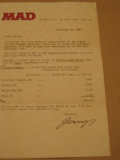 Go to Signed Letter Jerry DeFuccio Golden Age Comics Sale • USA