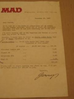 Go to Signed Letter Jerry DeFuccio Golden Age Comics Sale • USA