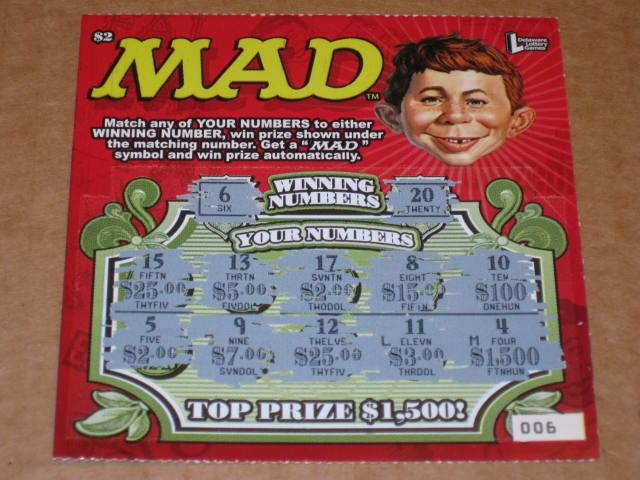 Scratch-Off Lottery Ticket MAD Magazine $2 - Delaware Lottery  • USA