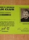 Image of Alfred E. Neuman Fan Club Membership Card - Inside