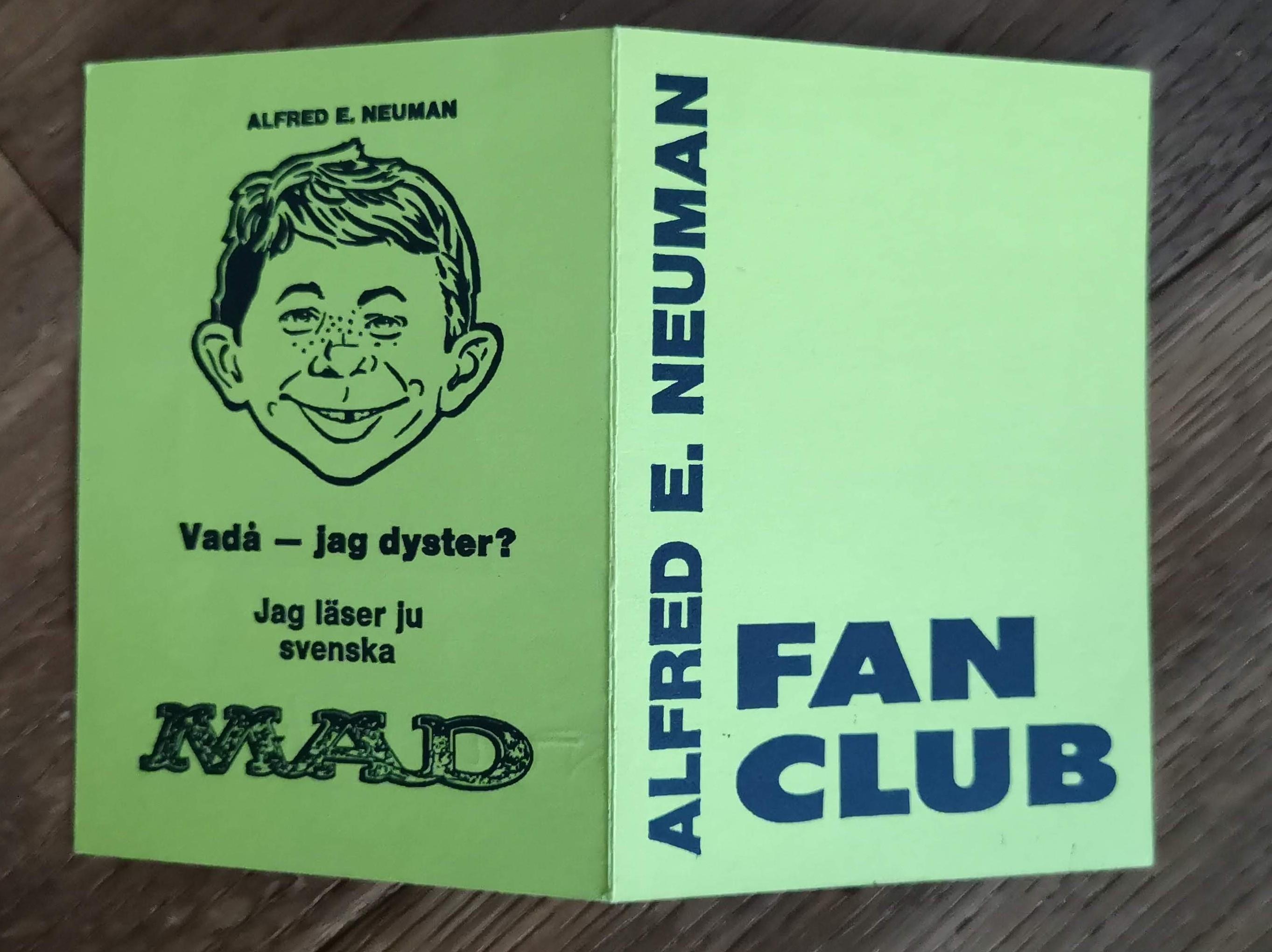 Membership Card Alfred E. Neuman Fan Club • Sweden