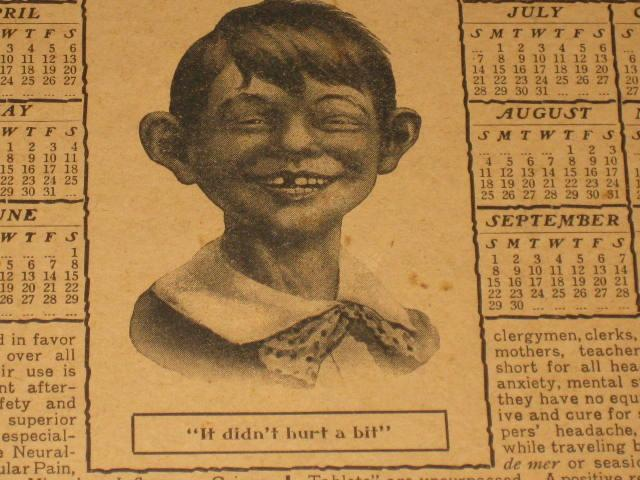 Antikamnia Tablet Calendar 1907 with Early Alfred E. Neuman • USA