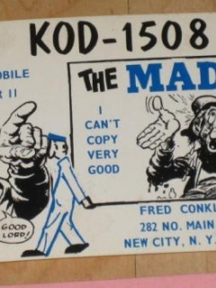 2 QSL / Ham Radio Postcards With MAD Magazine References • USA