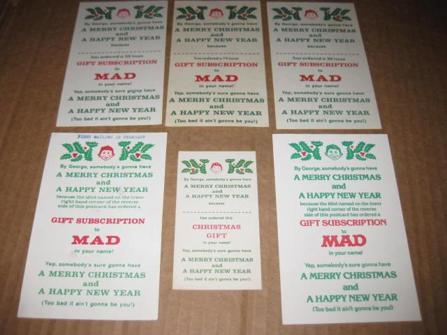 Christmas Gift Subscription Cards MAD Magazine • USA