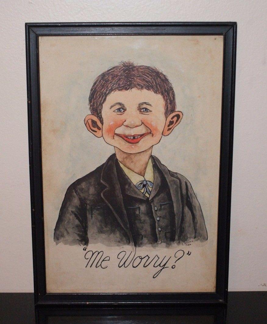 Painting of Alfred E. Neuman Original and Signed 1942 • USA