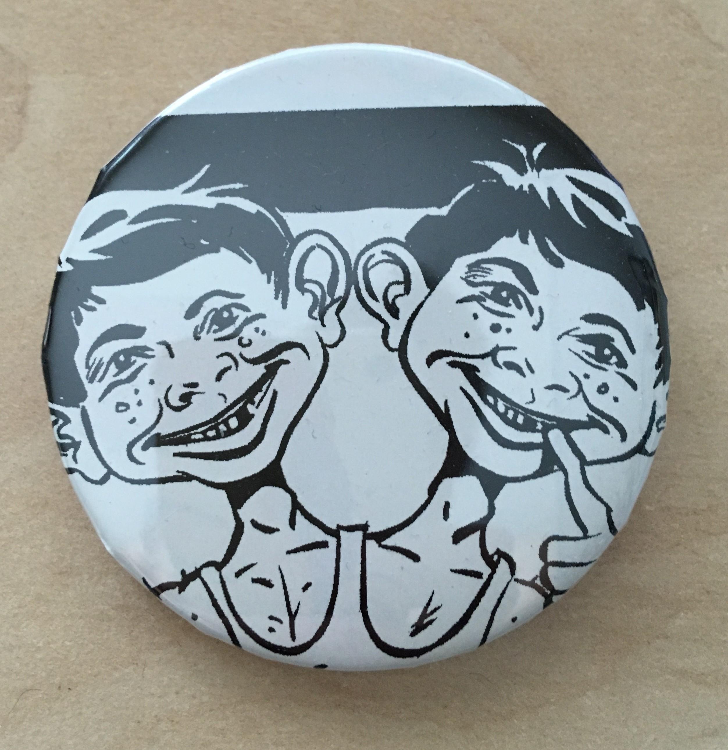 Pinback Button Alfred E. Neuman Double headed b/w • USA