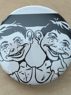 Go to Pinback Button Alfred E. Neuman Double headed b/w • USA