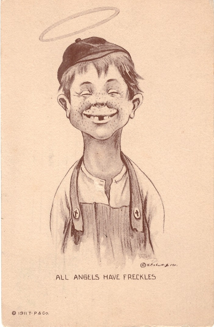 """Postcard Alfred E. Neuman Look-a-Like """"All Angels Have Freckles"""" • USA"""