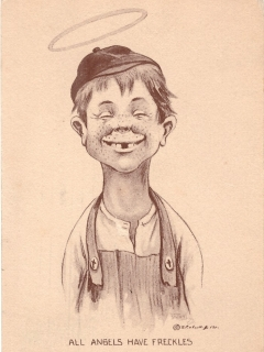 "Postcard Alfred E. Neuman Look-a-Like ""All Angels Have Freckles"" • USA"