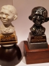 Image of Alfred E. Neuman Iron Bust Prototype compared to porcellain bust