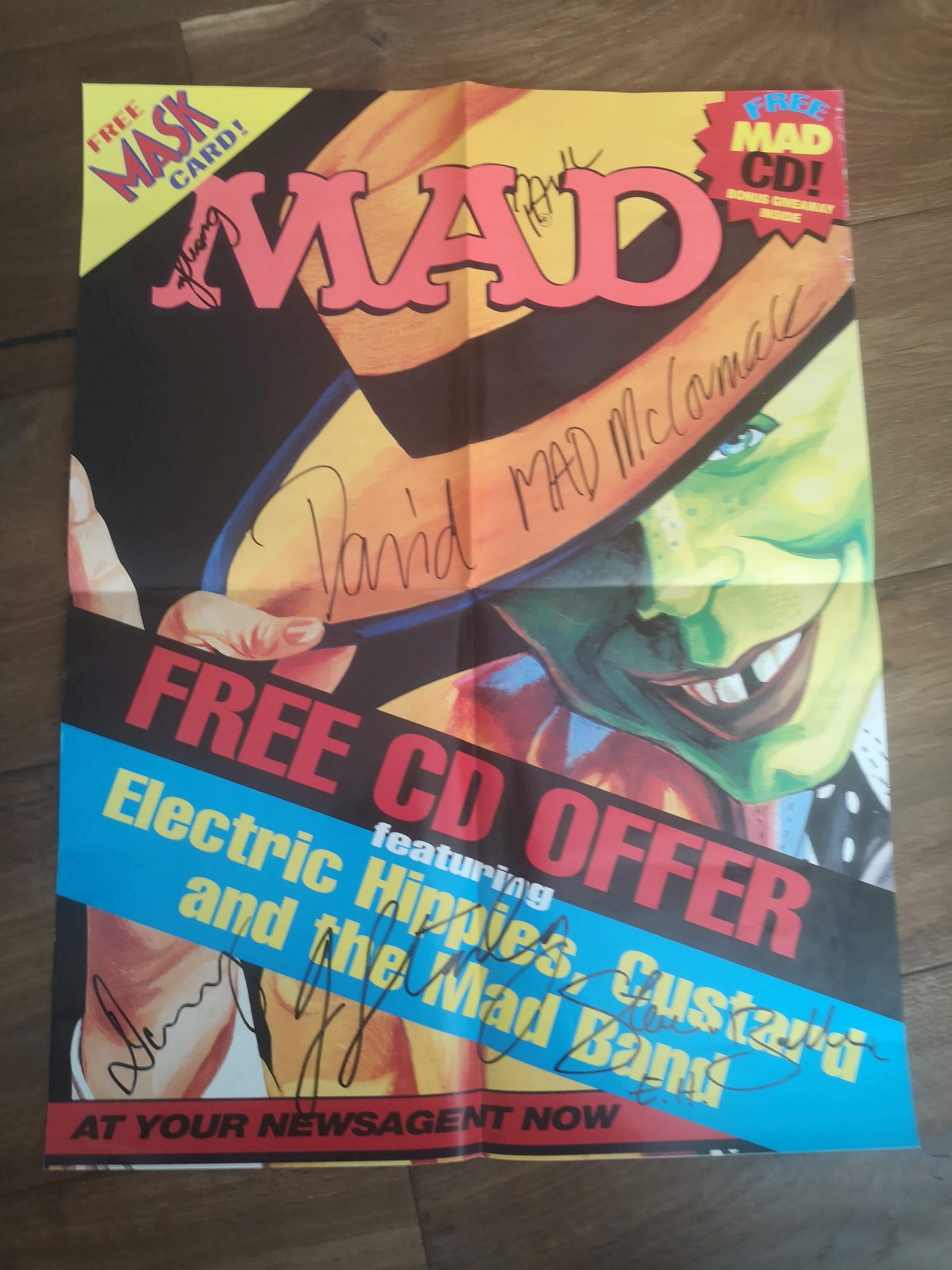 Signed MAD Promotional Poster 'Electric Hippies, Custard and the MAD band' • Australia