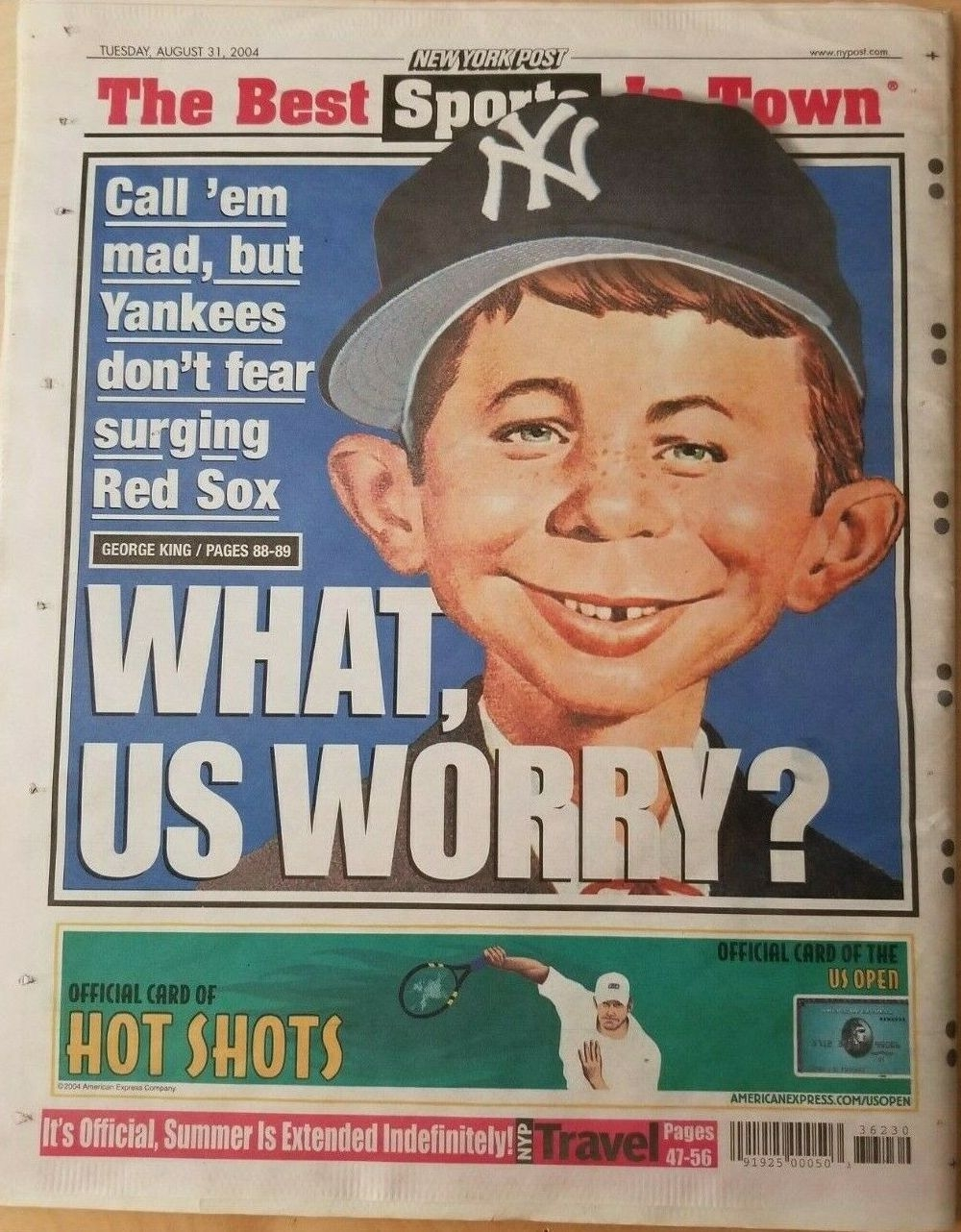 NY POST Newspaper with Alfred E Neuman as Yankee Fan • USA