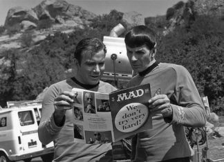 William Shatner and Leonard Nimoy reading MAD