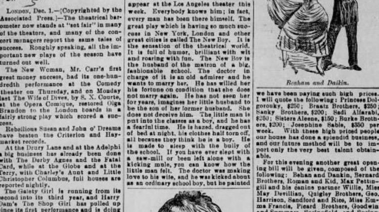 "Newspaper ad for ""The New Boy"""