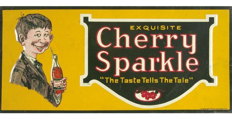 Cherry Sparkle tin sign, 1920's
